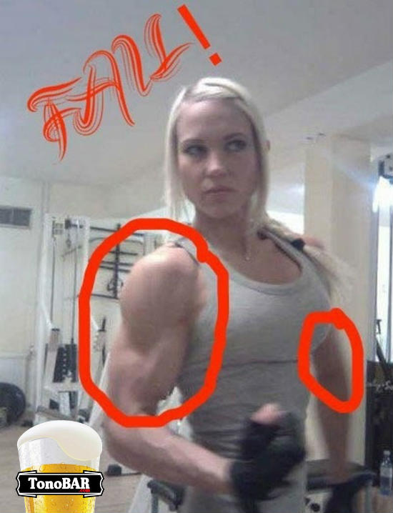 photoshop musculosa montada loira fake fail erros  fail  Milagres do Photoshop, descubra o erro!